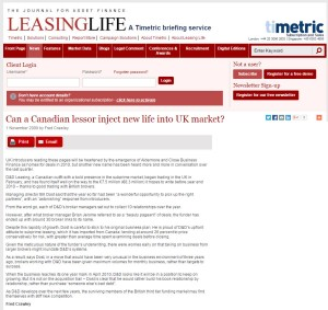 Canadian lessor inject new life into UK market article