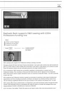 Bank support D&D Leasing article