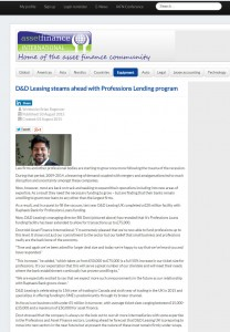 D&D Leasing steams ahead with Professions Lending program