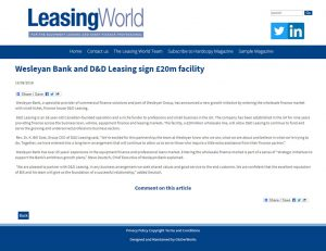 Wesleyan Bank and D&D Leasing sign £20m facility