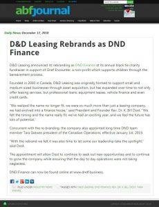 ABF Journal - D&D Leasing Rebrands as DND Finance