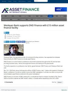 Wesleyan Bank supports DND Finance with £15 million asset finance facility