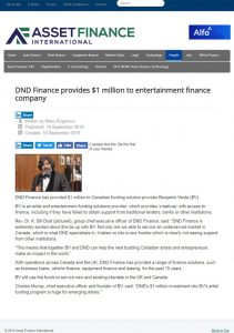 DND Finance provides $1 million to entertainment finance company