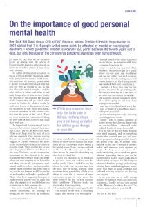 Importance of Good Personal Mental Health